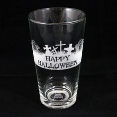 Set of 4 - 16 oz Glass Beer Mug with a haunted Halloween scene wrapped around the side and a hidden message on the bottom for your victims...