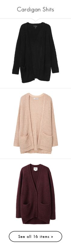 """Cardigan Shits"" by marleen03 ❤ liked on Polyvore featuring tops, cardigans, outerwear, jackets, black magic, monki, cardigan top, sweaters, thick cable knit cardigan and pink cable knit cardigan"