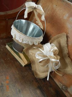 Ringbear Pillow and Fowergirl Pail by WeddingsbyKimberly on Etsy