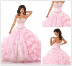 Wholesale Quinceanera Dresses - Buy 2014 Exquisite Sweetheart Ball Gown Applique Crystal Beads Pick-up Flounce Tires Organza Quinceanera Dresses Prom Dresses $146.43 | DHgate