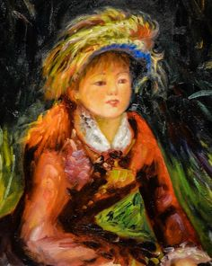 ルノアール 1880 Young Woman in the Garden, 1880 at Expo Picasso at Old St. John's Hospital Bruges Belgium