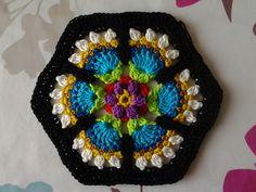 Crochet Frida's Flowers Blanket , free pattern Crochet Squares Afghan, Crochet Afghans, Crochet Yarn, Blanket Crochet, Granny Squares, Crochet Mandala Pattern, Crochet Square Patterns, Knitting Patterns, Mandala Yarn