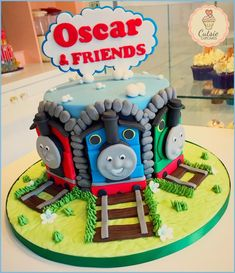 Thomas the Tank Engine by Cutsie Cupcakes Thomas Birthday Cakes, Thomas Birthday Parties, Thomas Cakes, Thomas The Train Birthday Party, 4th Birthday Cakes, Trains Birthday Party, Train Party, Birthday Cake Toppers, Thomas Tank Engine Cake