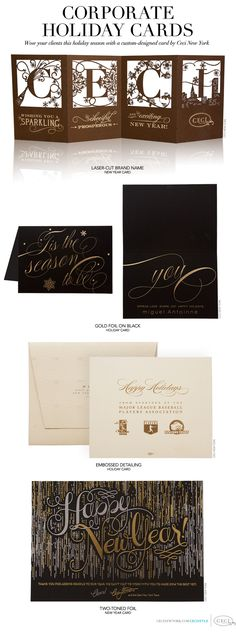 Luxury Wedding Invitations by Ceci New York - Our Muse - Custom Holiday Cards for Businesses by Ceci New York - Corporate Holiday Cards - Wow your clients this holiday season with a custom-designed card by Ceci New York - holiday, card, christmas, new year, corporate, business, brand, luxury, stationery, letterpress, foil, laser-cut