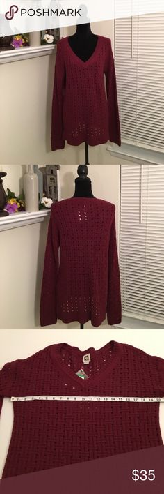 Anne Klein sweater Burgundy basket weave sweater from Anne Klein. Long sleeve, longer style. NWT Anne Klein Sweaters