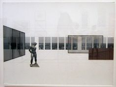 architectural drawing ideas Ludwig Mies van der Rohe, Georg Schaefer Museum Project, Schweinhurt, Germany Interior perspective with view of site, - Collage Architecture, Architecture Art Nouveau, Architecture Graphics, Architecture Drawings, Architecture Design, Ludwig Mies Van Der Rohe, Photomontage, Roubaix, Plakat Design