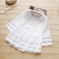 Summer new style women blouse mori girl hollow out crochet lace cotton white shirt sweet princess tops vestidos femininos