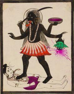 Kali dancing on prostrate Shiva, Punjab, Pakistan. Indian Goddess, Kali Goddess, Mother Goddess, Mother Kali, Divine Mother, Kerala Mural Painting, Madhubani Painting, Hindus, Shiva