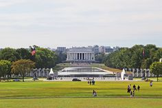 A view of the Lincoln Memorial and its long reflecting pool.
