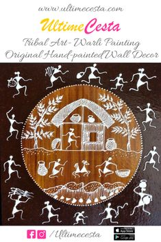 All the beauty of traditional Warli paintings, in a new avatar, on MDF board, using Ceramic and oil paints Indian Traditional Paintings, Indian Art Paintings, Traditional Art, Original Paintings, Tribal Drawings, Tribal Art, Worli Painting, Fabric Painting, Drawing Sketches