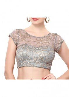 Grey blouse adorn in sequin embroidery only on Kalki Netted Blouse Designs, Saree Blouse Neck Designs, Fancy Blouse Designs, Bridal Blouse Designs, Choli Designs, Sari Bluse, Indische Sarees, Designer Party Wear Dresses, Sleeves Designs For Dresses