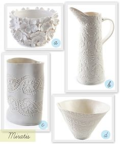 press ninemin doilies on to- for tiles? coasters, trivets? like the white on white.