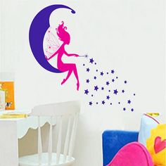 Moon fairy fantasy cartoon child vinyl wall stickers for kids rooms boys girl home decor living room sofa wall decals wallpaper Wall Stickers Girl Room, Custom Wall Stickers, Wall Stickers Murals, Diy Stickers, Wall Decals, Baby Nursery Diy, Baby Nursery Furniture, Star Designs, Transparent Stickers