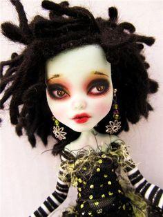 OOAK Full Set Frankie Monster High Custom Doll Dressed Dreadlocks Gothic!