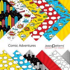 Superhero digital paper pack for scrapbook Comic Adventures in comic book style… Digital Scrapbook Paper, Papel Scrapbook, Baby Scrapbook, Digital Papers, Digital Backgrounds, Superhero Room, Superhero Birthday Party, Birthday Ideas, Superhero Teacher