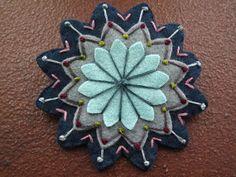 Wool Felt Flower  Brooch  Blues by tallulahssatchels on Etsy, $15.00