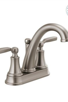 Delta Woodhurst GPM Centerset Bathroom Faucet with Drain Assembly Brilliance Stainless Faucet Bathroom Sink Faucets Double Handle Delta Bathroom, Small Bathroom, White Bathrooms, Luxury Bathrooms, Master Bathrooms, Dream Bathrooms, Lavatory Faucet, Bathroom Sink Faucets, Concrete Bathroom