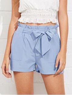 Casual Plain Straight Leg Regular Elastic Waist Mid Waist Blue Self Belted Ruffle Waist Shorts with Belt