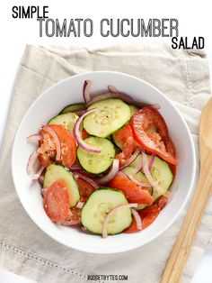 My favorite summer salad, which can be customized 100 different ways. Simple Tomato Cucumber Salad - BudgetBytes.com