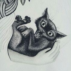 Popsurrealism hissing cat