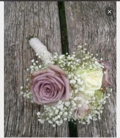 Dusky pink and gypsophillia buttonhole