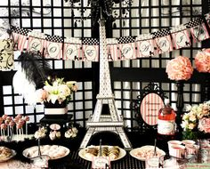 I Love Paris Party Pink and Black Elegant 3D por FrolicParties