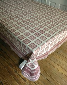 Hand Block Printed Tablecloth Baluchi Squares 70 By Inkandblock