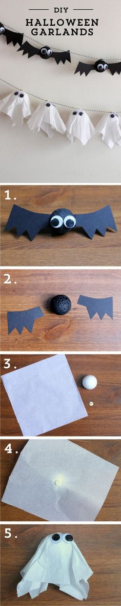 This chic #DIY Halloween garland is a great look for the home. Get creative with bats and ghosts.