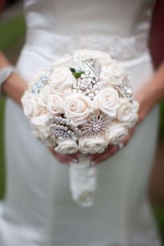 Fresh flower & diamante bridal brooch bouquet