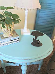 Cute Aqua Painted Side Table