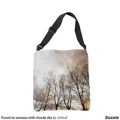 Forest in autumn with cloudy sky women's tote bag #bags #fashion #gifts