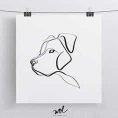 Pittie Pup Portrait - Minimal One Line Dog Drawing - by WithOneLine