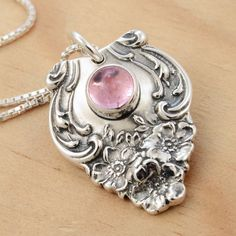 With pink tourmaline. More photos/for sale here: [link] Spoon Pendant Pink Tourmaline Silver Spoon Jewelry, Fork Jewelry, Silverware Jewelry, Metal Jewelry, Pendant Jewelry, Vintage Jewelry, Handmade Jewelry, Cutlery, Silver Spoons