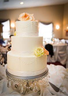 Butter cream swag with lace ribbon. A Spoon Fulla Sugar, Wedding Cakes, Cincinnati