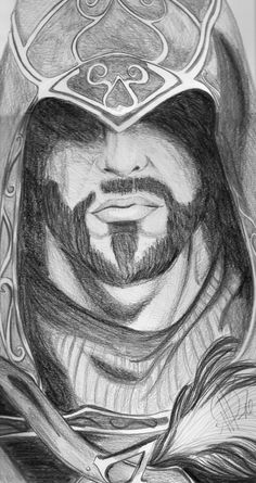 A drawing of Ezio Auditore from Assassin's Creed Revelations. Art Drawings Sketches Simple, Pencil Drawings, Arte Assassins Creed, Assasing Creed, Alex Gray Art, Inca Tattoo, Detail Art, Fan Art, Character Drawing