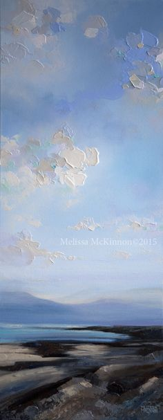 """""""Dreaming of Being Seaside"""" {Detail}16""""x40"""" MELISSA MCKINNON Contemporary Abstract Landscape Painter features BIG COLOURFUL PAINTINGS of coastal seascapes, big skies, mountains and ocean beaches. Abstract landscape painting of clouds, sky, beach coast and crystal blue ocean."""