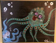 "Painting: 'Octopus Love' 5 x 7"" ink on canvas (FREE SHIPPING!) by AlabasterandObsidian on Etsy"