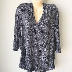 Vince Camuto Plus Size 3X Top Grey Black Leopard Print 3/4 Sleeve Ruched City #VinceCamuto #Blouse #Casual