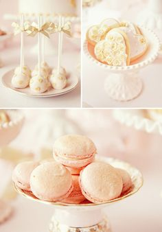 Pretty pink and gold sweets. Love the heart cookies especially.