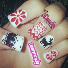 Hate the nail shape but like the ugly sweater theme Holiday Nail Art, Holiday Crafts, Holiday Ideas, Christmas Nails, Christmas Stuff, Christmas Ideas, Christmas Decorations, Mani Pedi, Manicure