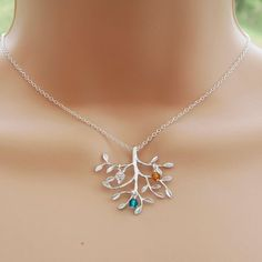 Family Tree Birthstone Necklace For Mom by CrystalSongJewels