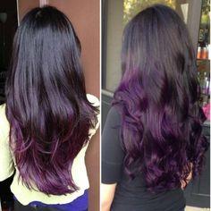Purple dip dye hair More