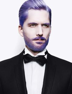 Love this purple. Use pomade for this sleek look.
