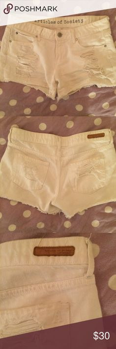 Articles of Society Destroyed Shorts Super cute destroyed white denim shorts - great condition ! Articles Of Society Shorts Jean Shorts