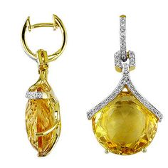 25 4/5 ct Arzun Color Collection Ladies Citrine & Diamond Earring in 14k Yellow Gold. | GrandeJewelry.com