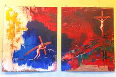 Two paintings depicting the crucifixion of Jesus, Easter 2015, at Fore Street Methodist Church, St Ives.