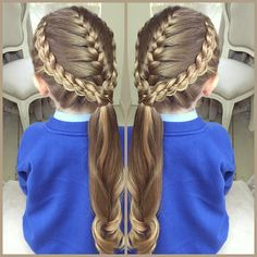 """2 Four Strand Lace Braids with a French Braid for school today  Inspired by @tinkerbeannpoplettes and @prettylittlebraids  If you want amazing school…"""