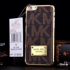 MK 6/6s Plus Hard Leather Chrome Frame Case(Brown) New. Also Available in white as shown in 3rd pic Michael Kors Accessories Phone Cases