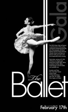 Poster for The New York Ballet - love the lengthening of the L's and the entwining of the type wth the ballerina