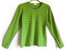 MARIMEKKO Shirt Green Nautical Shirt Marine Top Finnish Clothing Women's Top By Marimekko Striped Cotton Shirt Long Sleeves S Size Top by Vintageby2sisters on Etsy